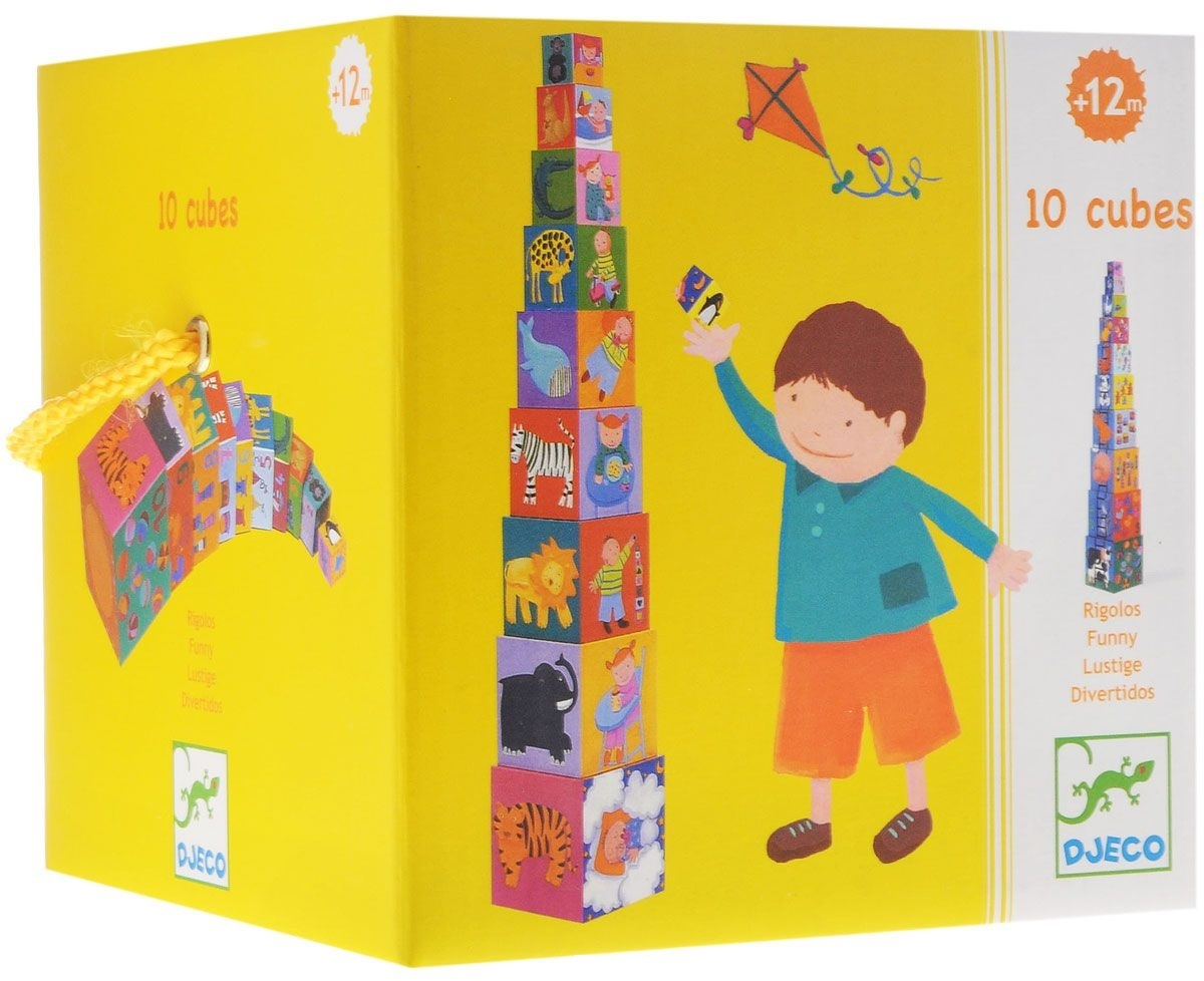 Купить Кубики-пирамида - Забавные кубики, 10 штук, Djeco