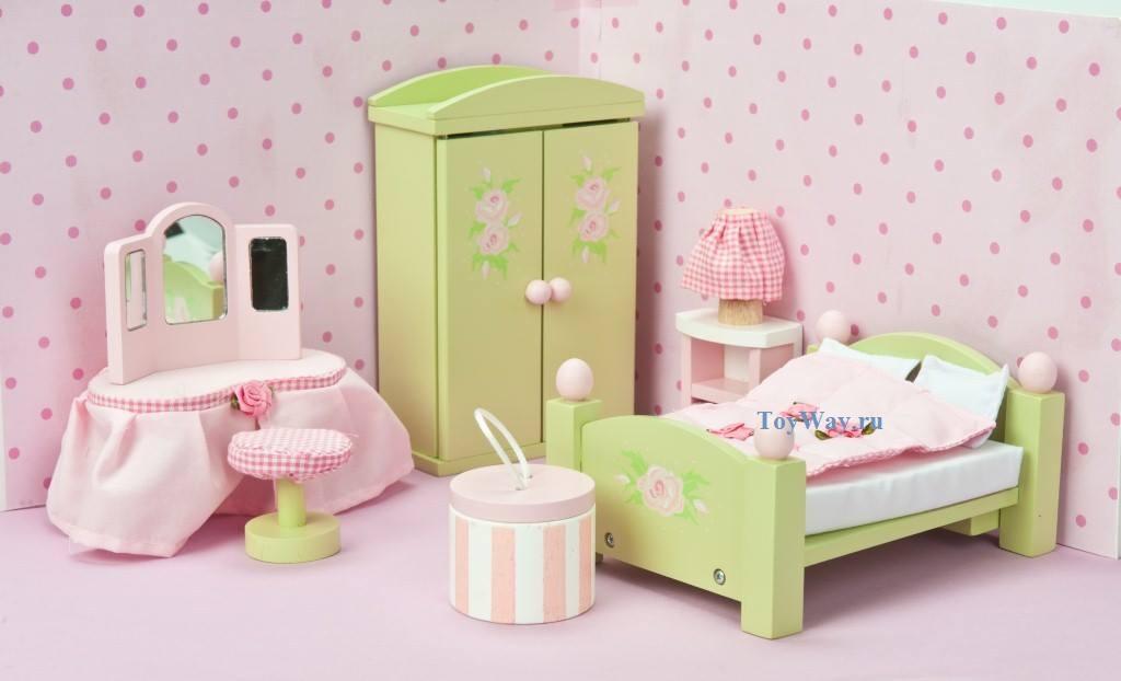 Кукольная мебель деревянная «Бутон розы – Спальня»Кукольные домики<br>Кукольная мебель деревянная «Бутон розы – Спальня»<br>