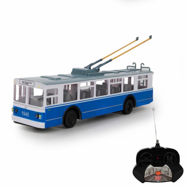 Радиоуправляемый троллейбус со светом и звуком, 24 см.Автобусы, трамваи<br>Радиоуправляемый троллейбус со светом и звуком, 24 см.<br>