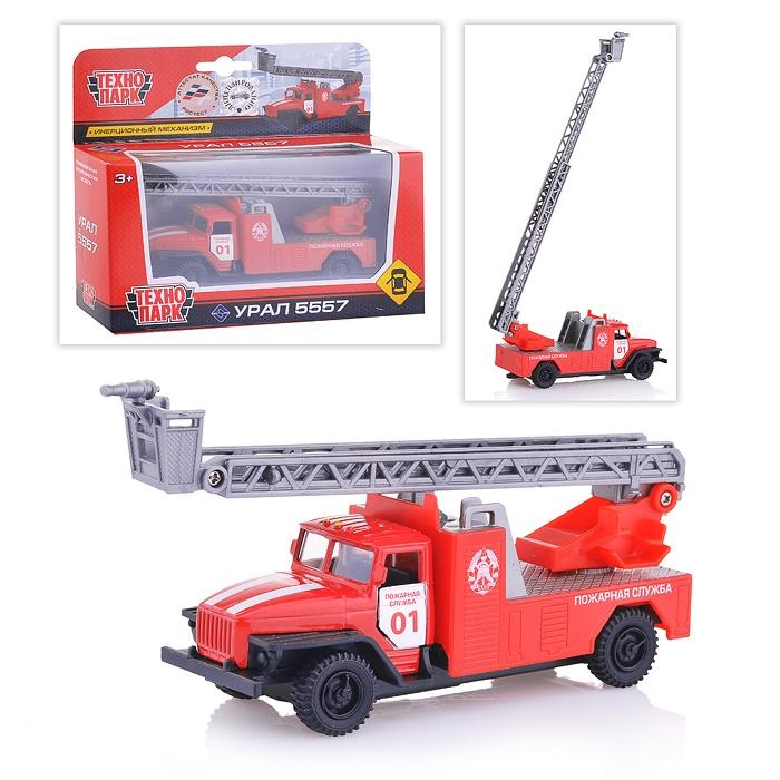 Купить Пожарная машина металлическая инерционная 12 см, открываются двери, Технопарк