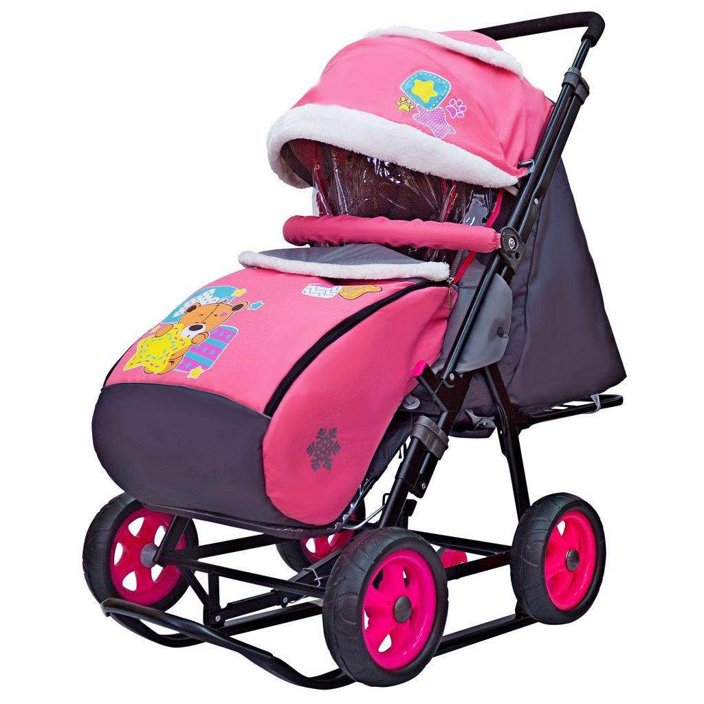 Санки-коляска Snow Galaxy - City-1 - Мишка со звездой, цвет розовый на больших колесах Ева, сумка, варежки