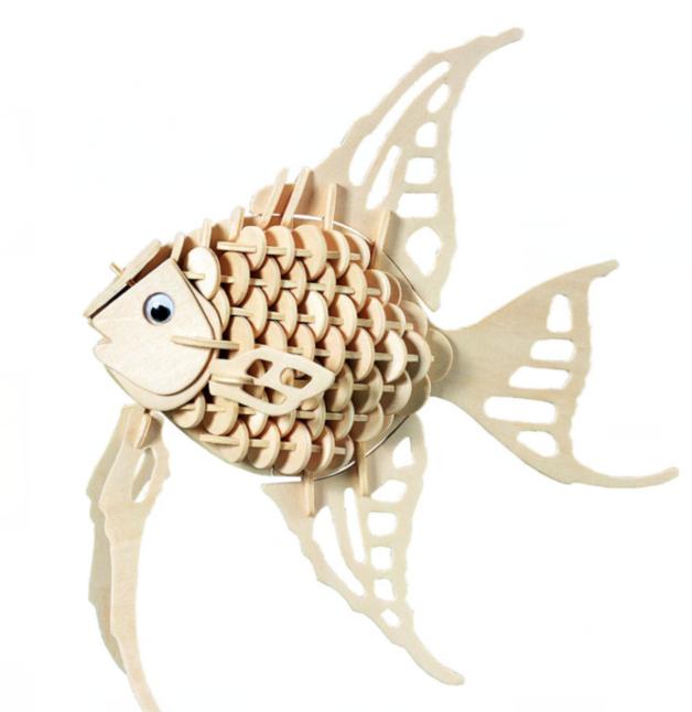 Модель деревянная сборная - Ангельская рыбкаПазлы объёмные 3D<br>Модель деревянная сборная - Ангельская рыбка<br>