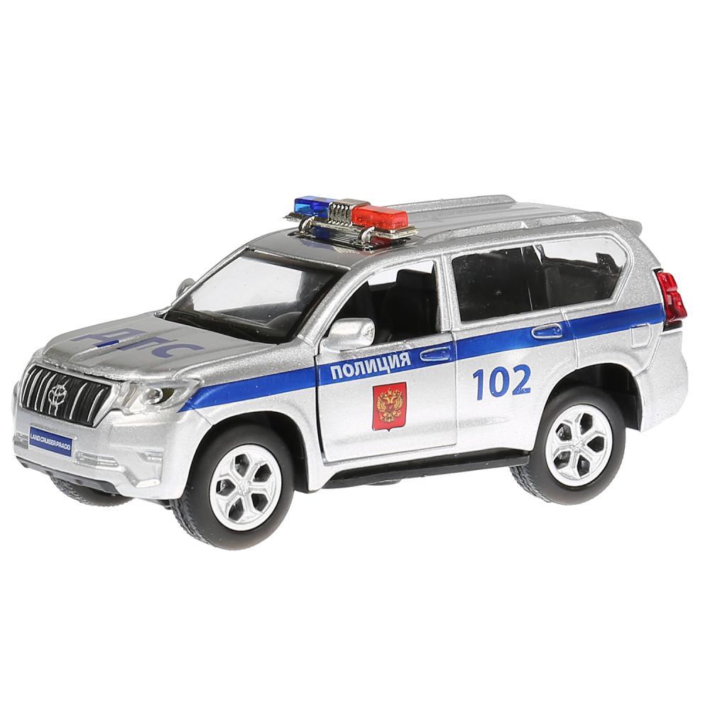 Купить Машина металлическая свет-звук Toyota Prado Полиция, 12 см., открываются двери, инерционная, Технопарк