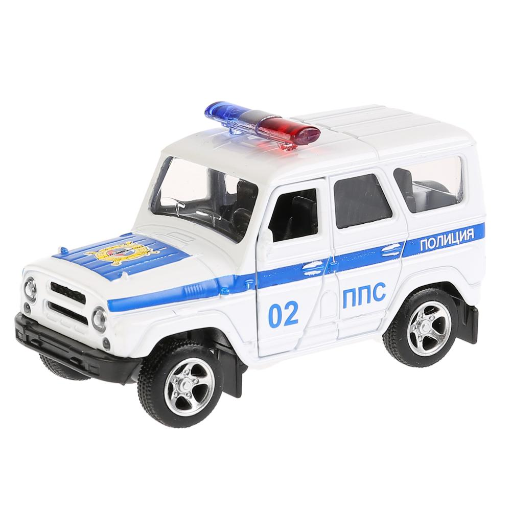Купить Машинка металлическая инерционная - Уаз Hunter Полиция, открываются двери, Технопарк