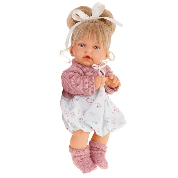 Купить Интерактивная кукла – Лухан в темно-розовом, 27 см, мама, папа и смеется, Antonio Juan Munecas