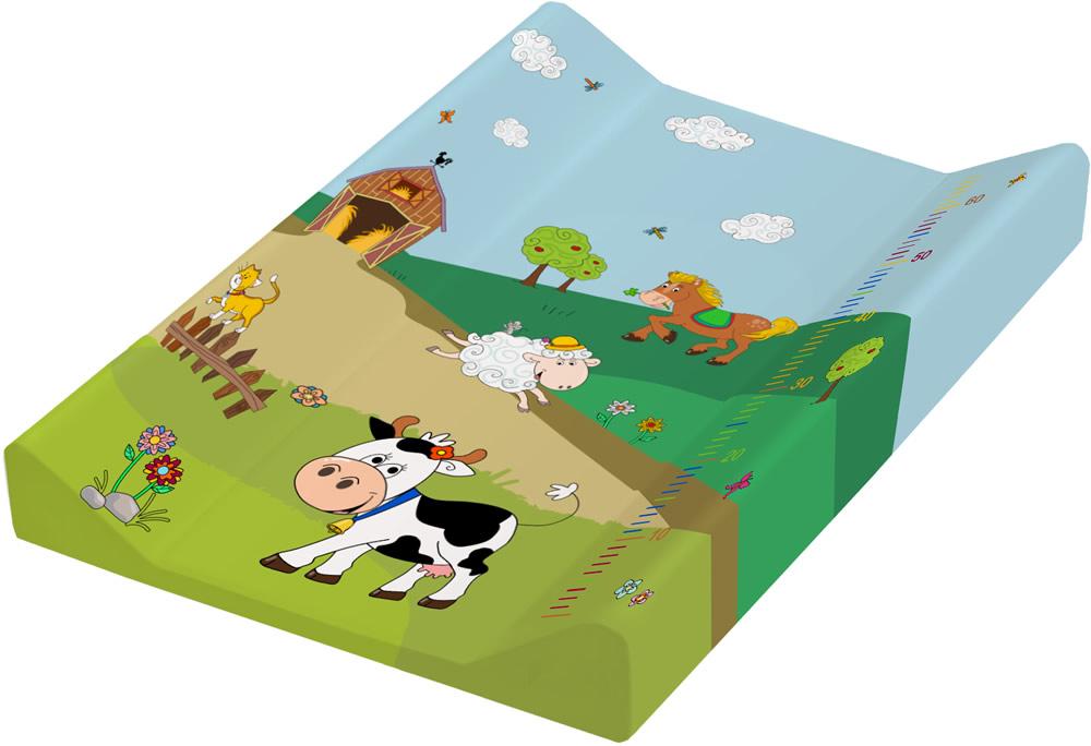 Пеленальная доска с жёстким основанием с меркой - Весёлая Ферма, зелёный 50 х 70 смСтолы для пеленания<br>Пеленальная доска с жёстким основанием с меркой - Весёлая Ферма, зелёный 50 х 70 см<br>