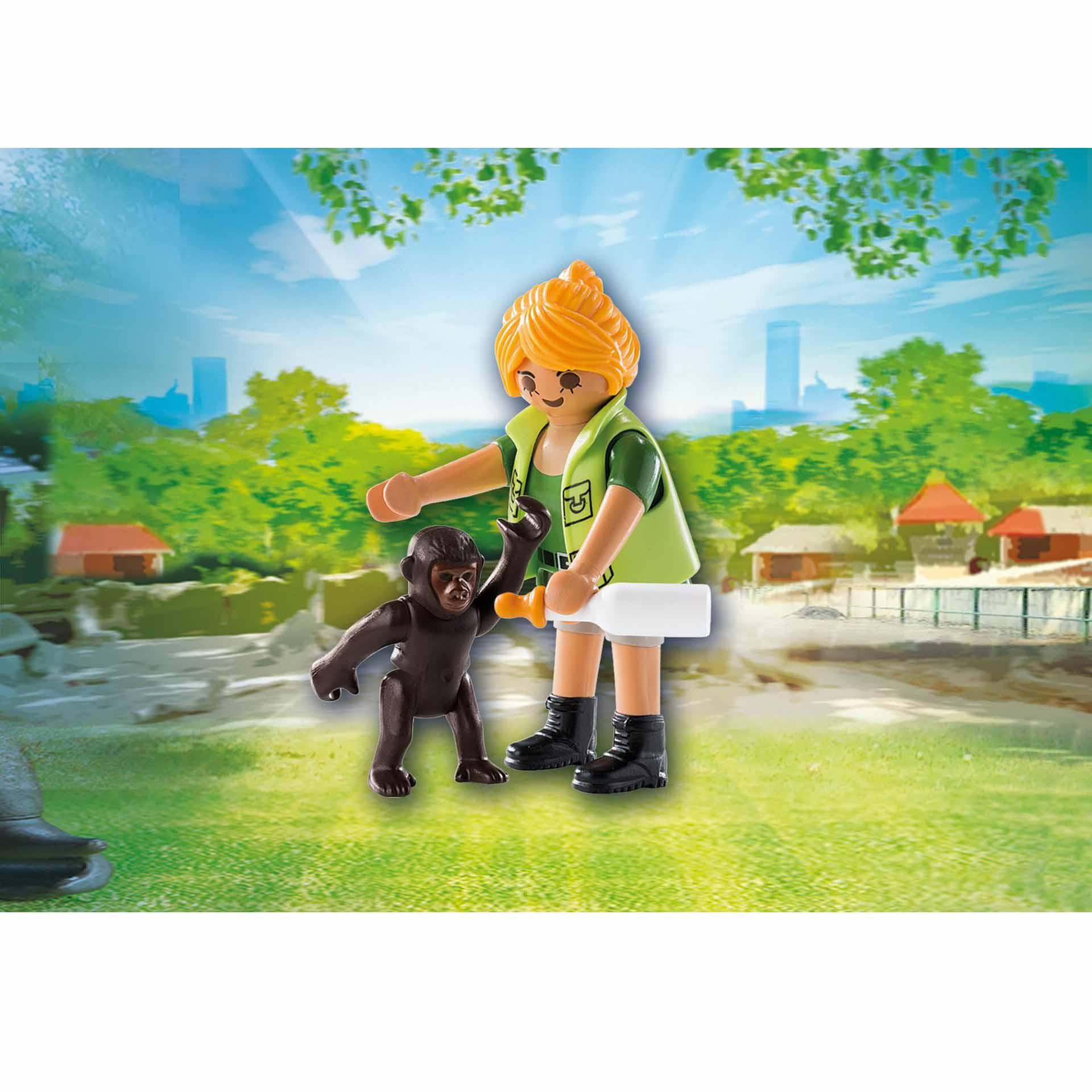 Купить Игровой набор - Смотритель зоопарка с детенышем гориллы, Playmobil