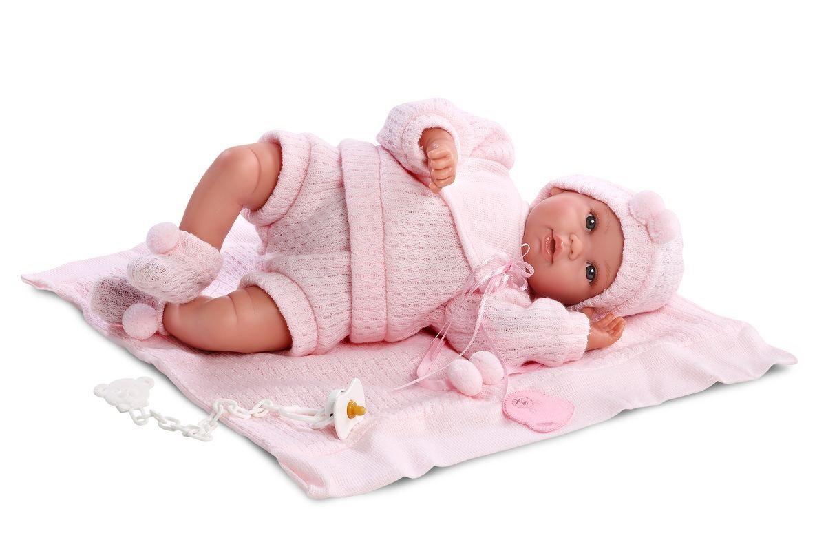 Кукла младенец в розовом костюмчике, 36 см.Испанские куклы Llorens Juan, S.L.<br>Кукла младенец в розовом костюмчике, 36 см.<br>