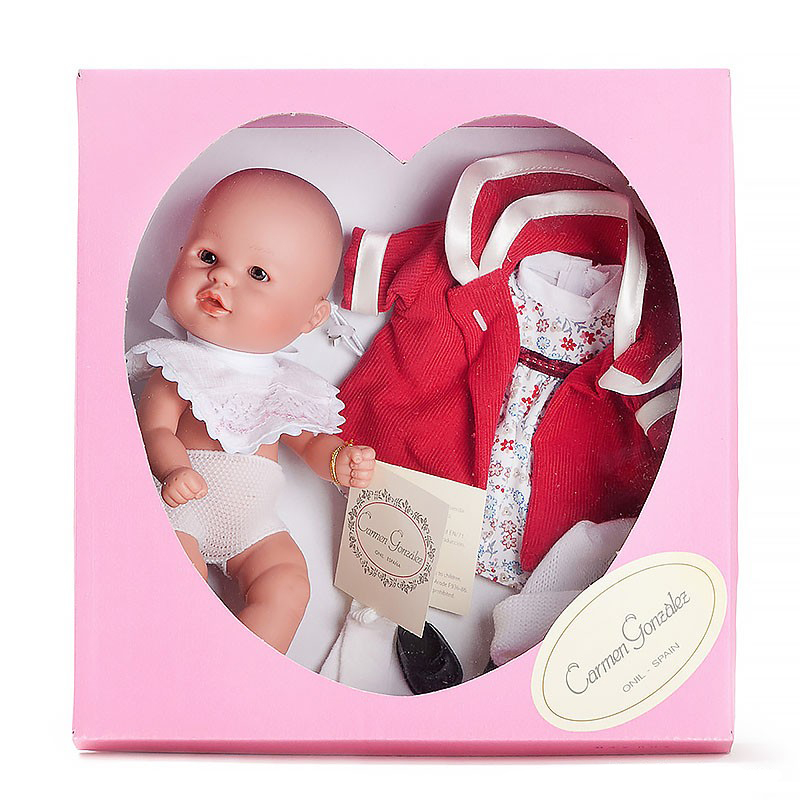 Кукла Бебетин в платье и красном пальто 21 см - Скидки до 70%, артикул: 143467