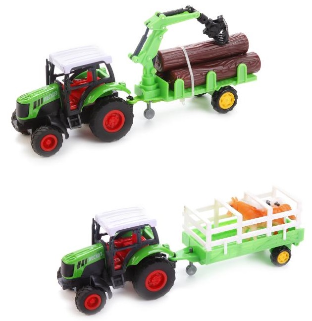 Металлический инерционный трактор с прицепомИгрушечные тракторы<br>Металлический инерционный трактор с прицепом<br>