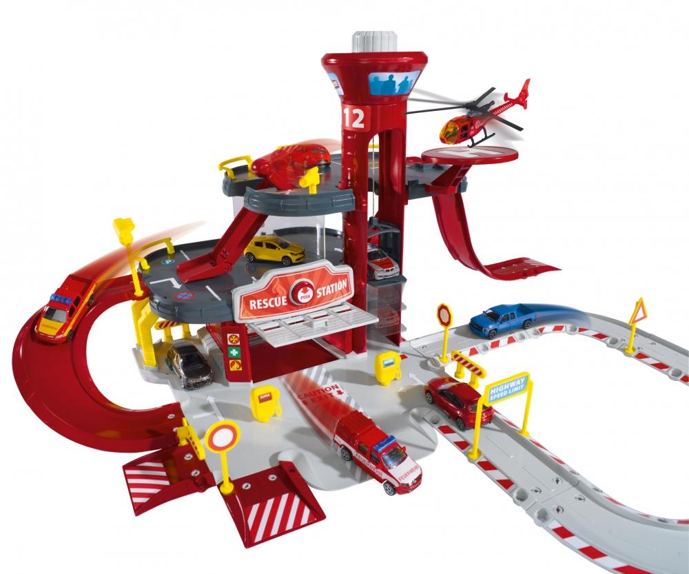 Купить Парковка - пожарная станция Creatix Majorette, 1 вертолет + 1 машинка