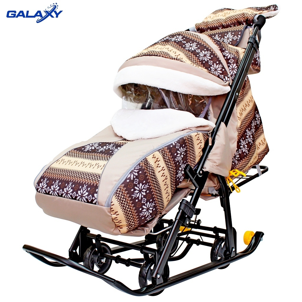 Санки-коляска Snow Galaxy Luxe, Скандинавия, коричневая, на больших мягких колесах c сумкой и муфтой RT