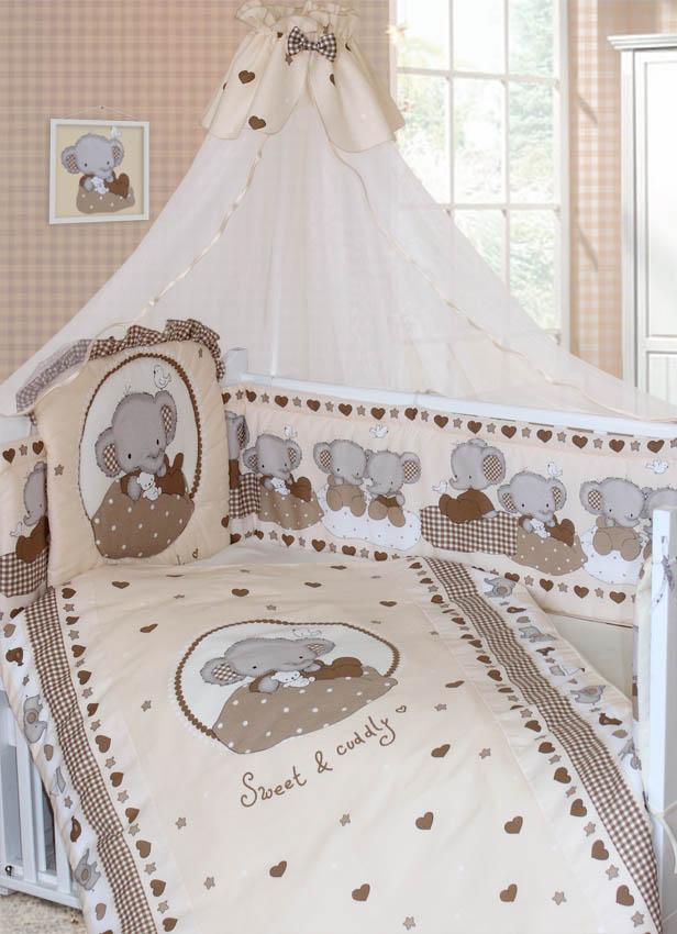 Комплект в кроватку – Слоник Боня, 7 предметов, бежевыйДетское постельное белье<br>Комплект в кроватку – Слоник Боня, 7 предметов, бежевый<br>