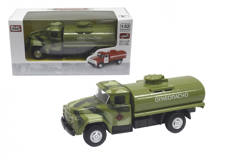 Купить Инерционная металлическая модель - Военный грузовик - Огнеопасно, 1:52, Play Smart