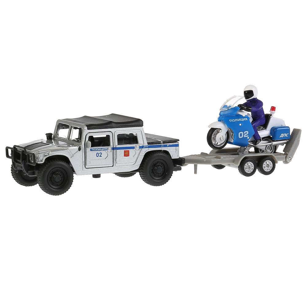 Купить Модель инерционная металлическая - Hummer H1 полиция 12 см, с мотоциклом на прицепе, Технопарк