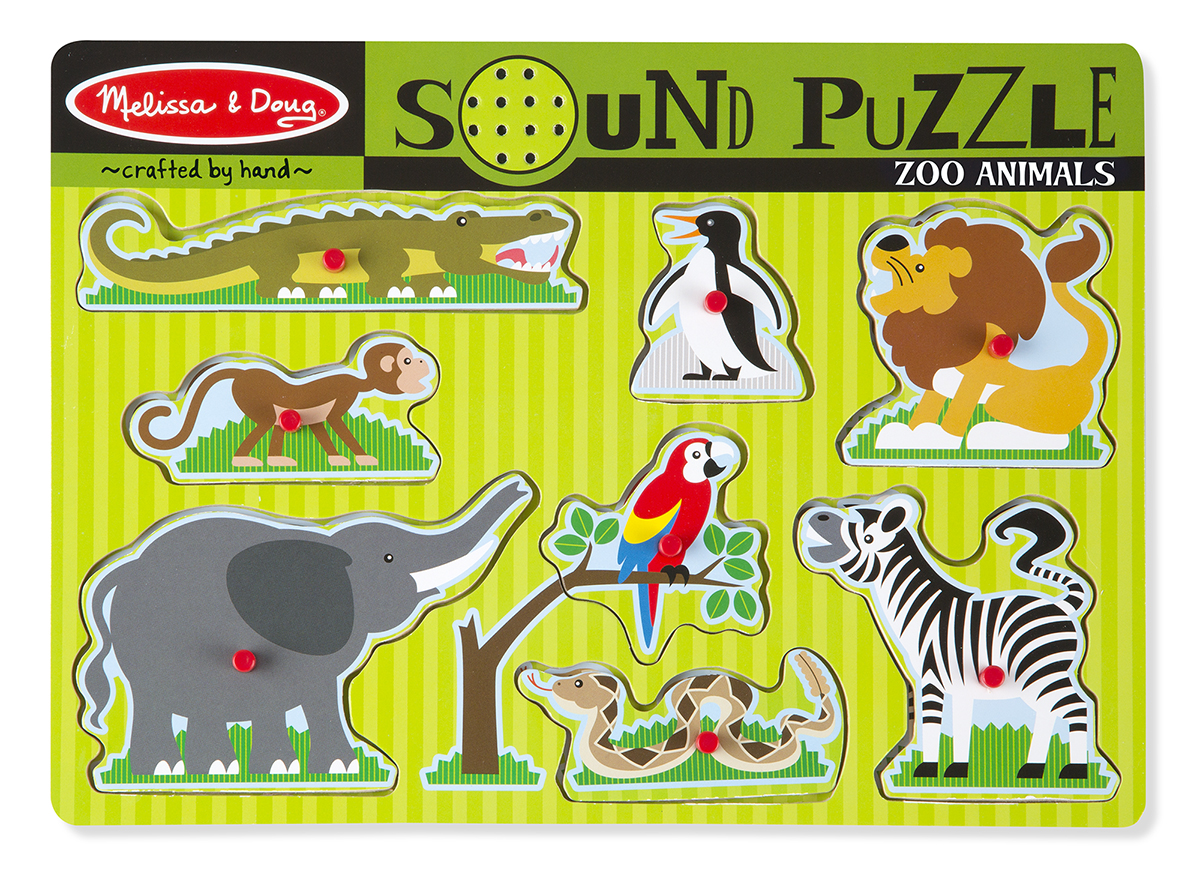 картинка Пазл со звуком – Зоопарк, 8 элементов от магазина Bebikam.ru