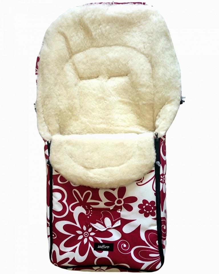 Спальный мешок в коляску №07 из серии North pole, дизайн – красно-белые цветы - Прогулки и путешествия, артикул: 171087