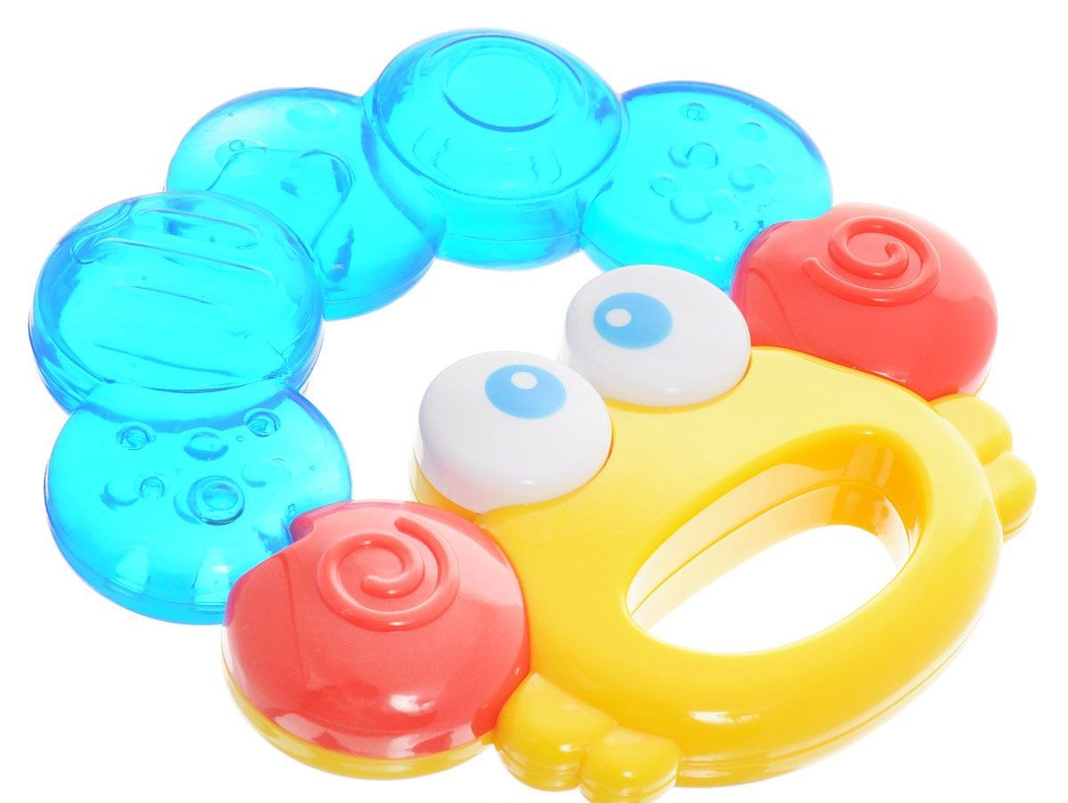 Погремушка-прорезыватель - КрабикДетские погремушки и подвесные игрушки на кроватку<br>Погремушка-прорезыватель - Крабик<br>