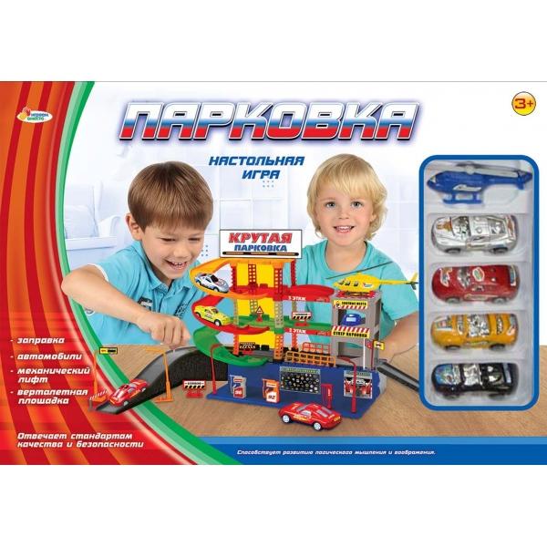 Парковка с 3 уровнями, вертолетом и машинками - Детские парковки и гаражи, артикул: 171535
