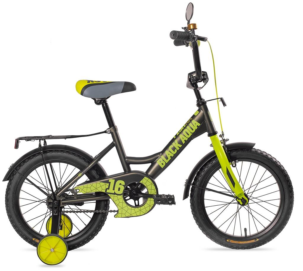 Велосипед 2-х колесный BA Fishka, хаки-лимонный, диаметр колес 12 дюйм, с ручкой, МАТТ со светящимися колесами фото