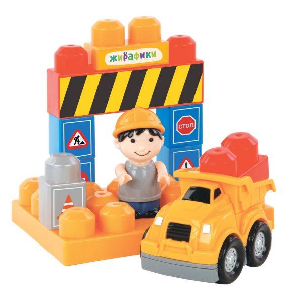 Купить Конструктор для малышей с фигурками и наклейками - Дорожное движение, 12 деталей, Жирафики
