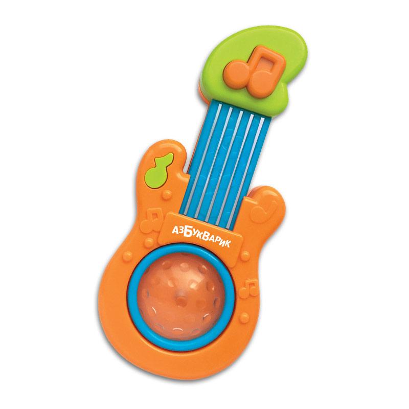Купить Детский музыкальный инструмент – Гитара оранжевая, песенки и свет, Азбукварик