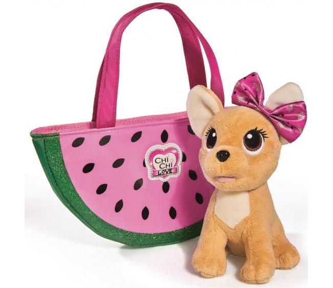 Плюшевая собачка Chi-Chi love - Фруктовая мода, с сумочкой, 18 смChi Chi Love - cобачки в сумочке<br>Плюшевая собачка Chi-Chi love - Фруктовая мода, с сумочкой, 18 см<br>