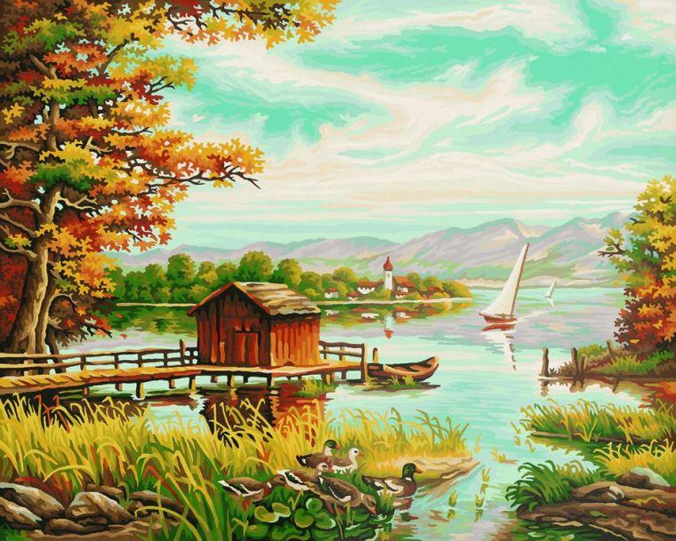 На берегу озера, 40х50 см - Раскраски по номерам Schipper, артикул: 9199