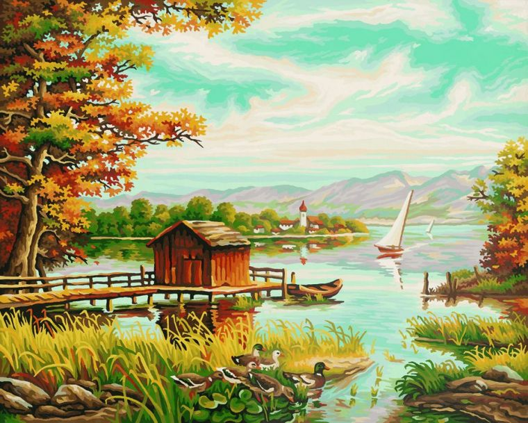 На берегу озера, 40х50 смРаскраски по номерам Schipper<br><br>