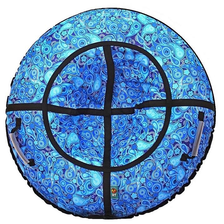 Санки надувные Тюбинг - Русский Узор, голубой, автокамера, диаметр 100 см.