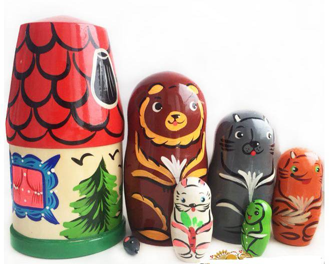 Матрешка Сказка-Теремок 7 кукольная, 18 см - Деревянные игрушки, артикул: 161914