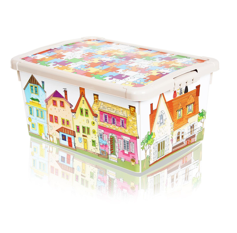 Ящик для игрушек с аппликацией - ГородКорзины для игрушек<br>Ящик для игрушек с аппликацией - Город<br>