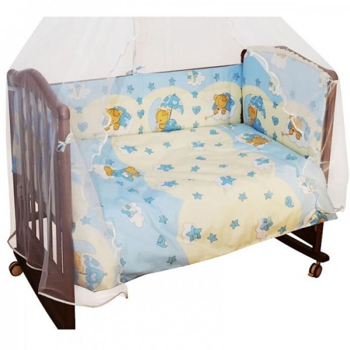 Бортик в кроватку из серии Мишкин Сон, цвет – голубой
