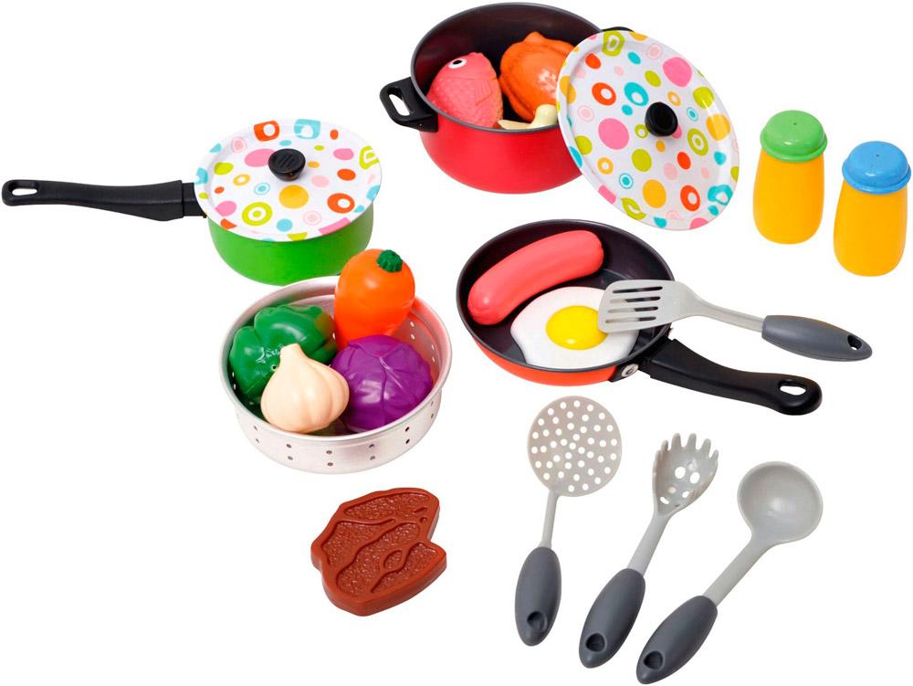 Игровой набор металлической посуды с продуктами, 22 предметаАксессуары и техника для детской кухни<br>Игровой набор металлической посуды с продуктами, 22 предмета<br>