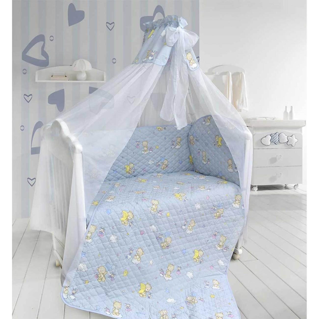 Купить Бампер в кроватку - Универсальный, голубой, Bombus