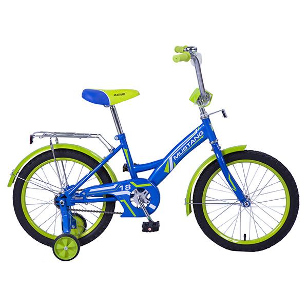 Купить Велосипед детский Mustang с колесами 18 , рама GW-тип, багажник, страховочные колеса, звонок, сине/салатовый