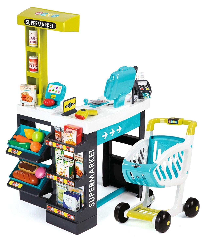 Магазин супермаркет с тележкой, звук, синийДетская игрушка Касса. Магазин. Супермаркет<br>Магазин супермаркет с тележкой, звук, синий<br>