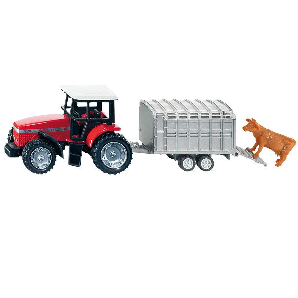 Купить Игрушечная модель - Трактор с прицепом для скота, Siku