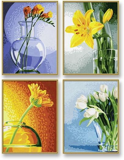 Четыре картины Цветы, размером 18х24смРаскраски по номерам Schipper<br>Четыре картины Цветы, размером 18х24см<br>