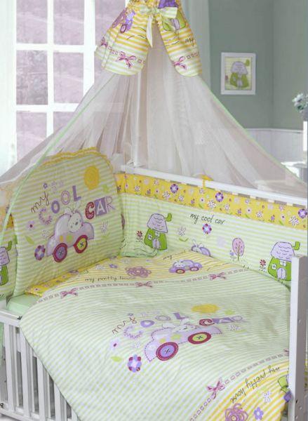 Комплект в кроватку – Cool Car, 7 предметов, зеленыйДетское постельное белье<br>Комплект в кроватку – Cool Car, 7 предметов, зеленый<br>