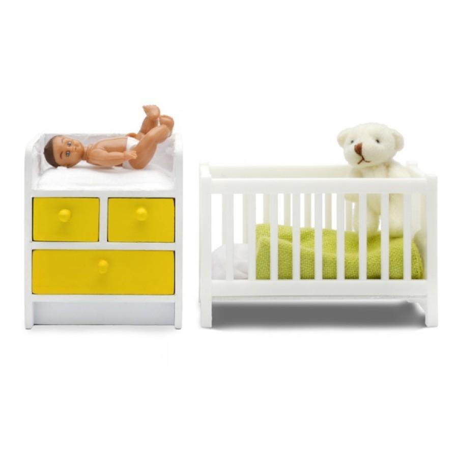 Мебель для домика из серии Стокгольм - Кровать с пеленальным комодомКукольные домики<br>Мебель для домика из серии Стокгольм - Кровать с пеленальным комодом<br>
