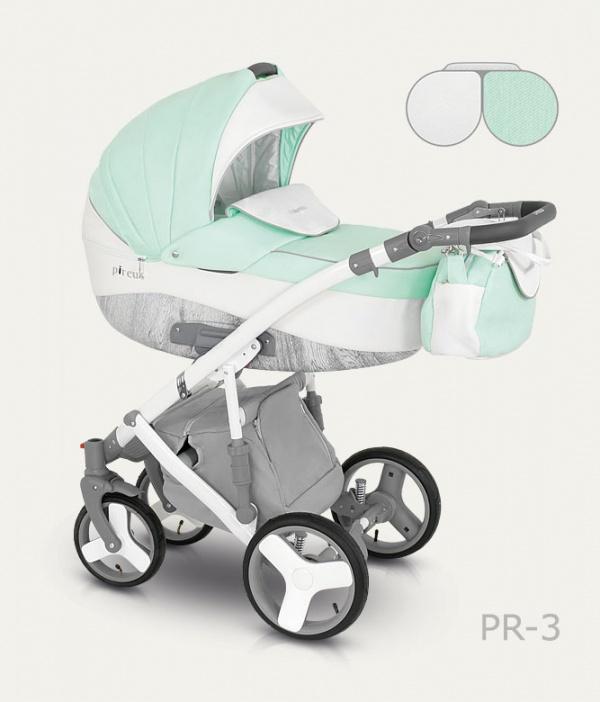 Детская коляска Camarelo Pireus 2 в 1, цвет бело-мятныйДетские коляски 2 в 1<br>Детская коляска Camarelo Pireus 2 в 1, цвет бело-мятный<br>