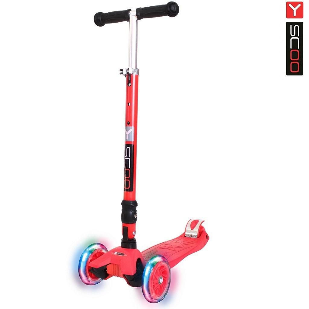 Купить Трехколесный самокат Y-Scoo 35 Maxi Fix Shine, красный, со светящимися колесами