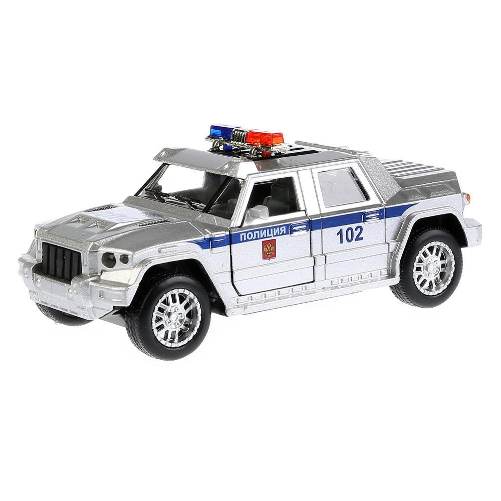 Купить Машина металлическая Бронемашина Полиция, длина 12 см, свет и звук, инерционная, Технопарк