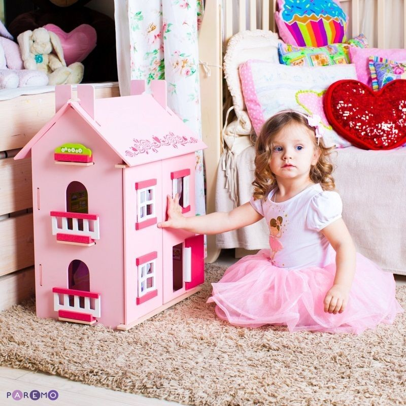 Купить Большой домик для кукол с 15 предметами мебели - Милана, Paremo