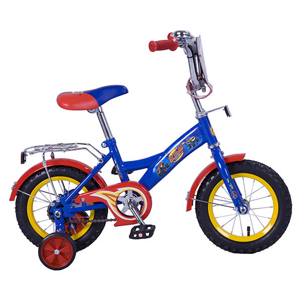 Купить Велосипед детский с дизайном Вспыш, колеса 12 , GW-стальная рама, щиток на руле, багажник, страховочные колеса, цвет – сине-красный