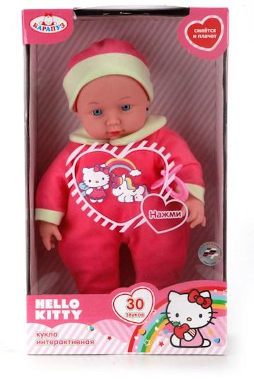 Озвученный пупс Hello Kitty, 30 смКуклы Карапуз<br>Озвученный пупс Hello Kitty, 30 см<br>