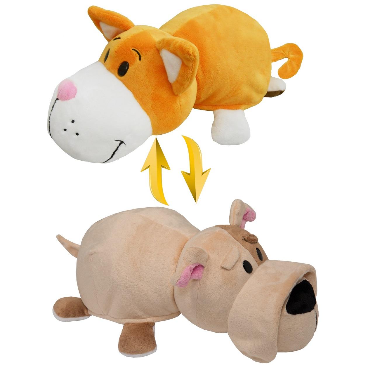Купить Плюшевая игрушка Вывернушка 2 в 1, Оранжевый кот-Бульдог, 35 х 15 х 17 см.