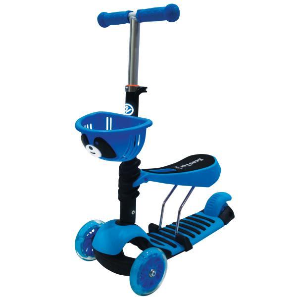 Самокат 3-колесный 2-в-1, управление наклоном, светящиеся колеса 120 и 76 мм., цвет – синийТрехколесные самокаты<br>Самокат 3-колесный 2-в-1, управление наклоном, светящиеся колеса 120 и 76 мм., цвет – синий<br>