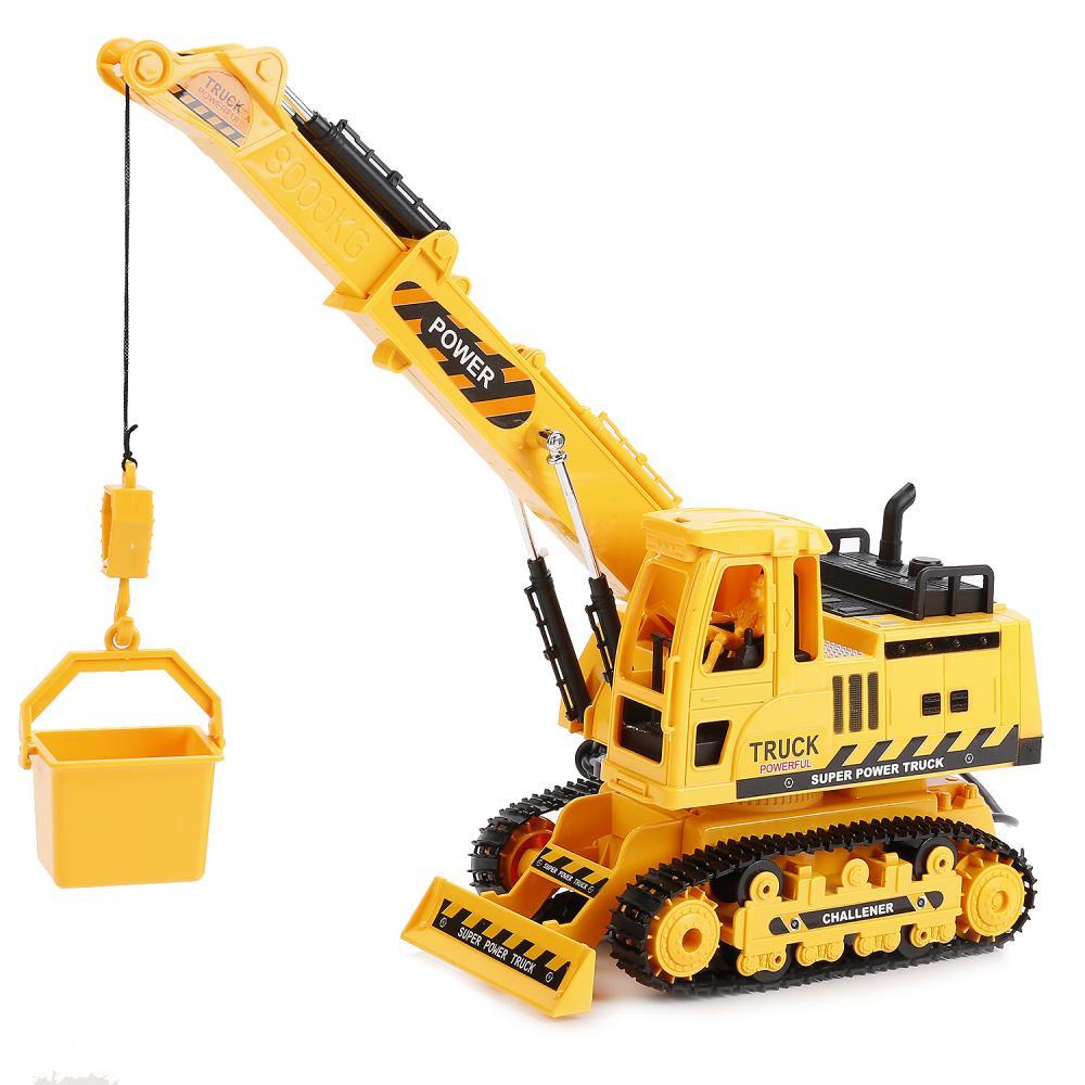 картинка Трактор со строительным краном и аксессуарами, на пульте, свет, звук от магазина Bebikam.ru